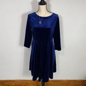 Woman's Blue Velvet V neck Holiday Dress